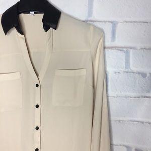 Express •The Portofino Shirt• XS Cream & Black Top